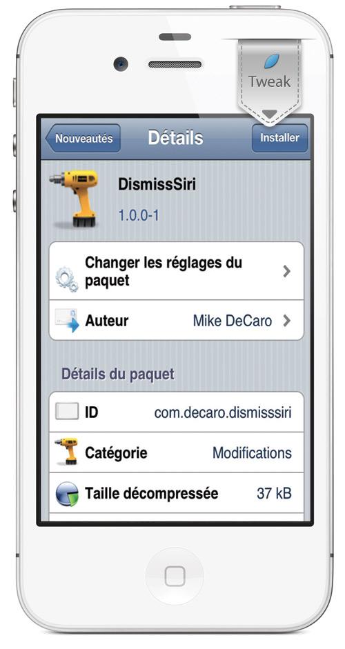 DiqmissSiri DismissSiri, fermer Siri avec votre voix