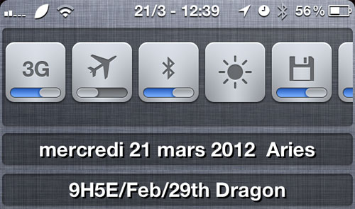LunarCalendar iPh Lunar Calendar, calendrier lunaire pour NotificationCenter