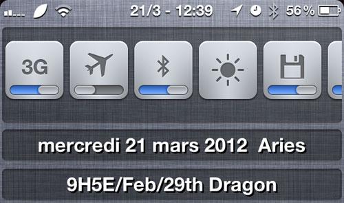 LunarCalendar iPh Lunar Calendar, calendrier lunaire pour NotificationCenter