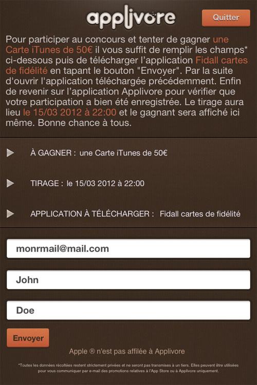 form applivore concours CONCOURS : un iPhone 5 16Gb à gagner [RÉSULTAT]