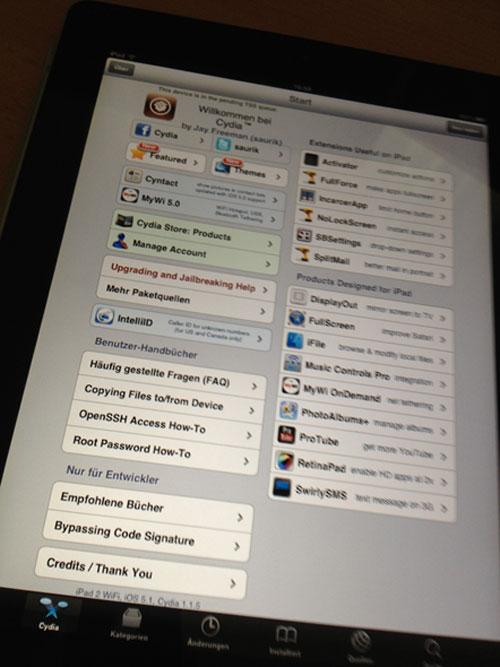 jbiOS Premières images dun iPad 2 sous iOS 5.1 jailbreaké