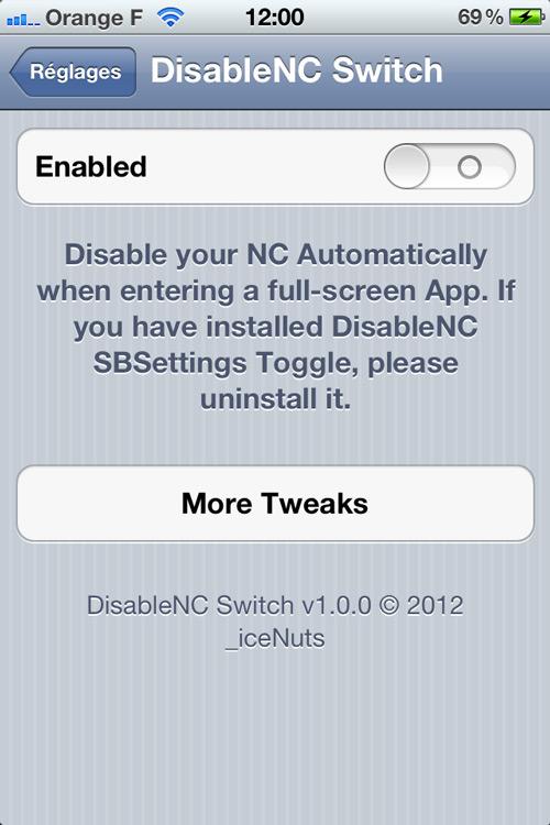Photo 29 04 12 12 00 46 Cydia : DisableNC Switch, le tweak pour désactiver le Centre de Notification