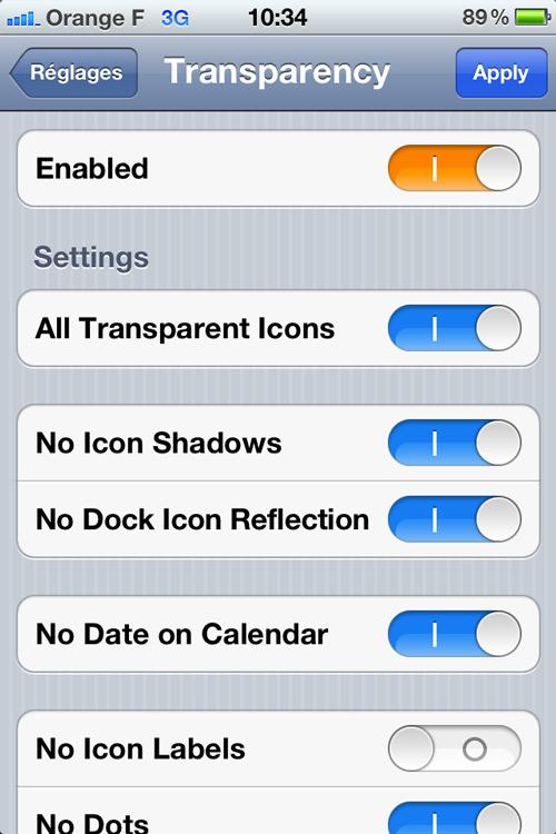 T2 Cydia : Transparency, masquez vos icônes