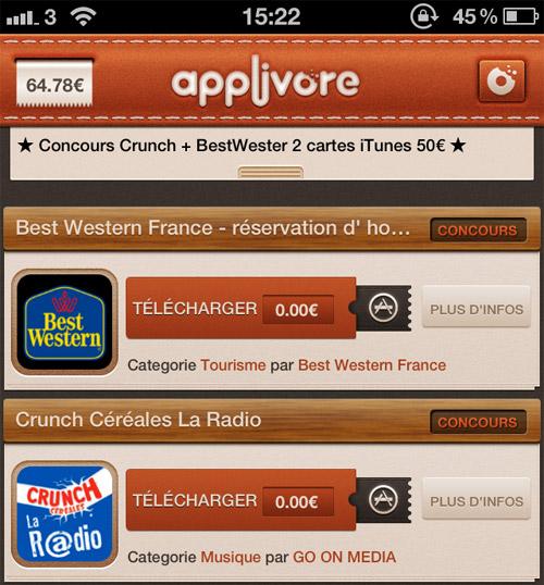 applivore Concours : 2 cartes iTunes 50€ à gagner