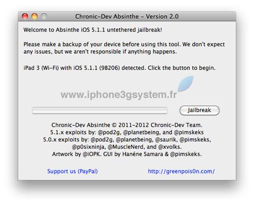 1 TUTO : Jailbreak untethered iOS 5.1.1 avec Absinthe 2.0.4