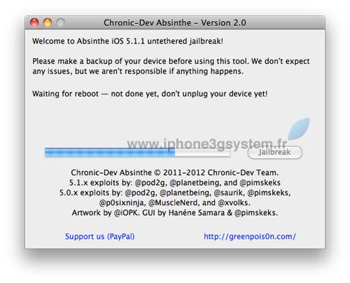 3 TUTO : Jailbreak untethered iOS 5.1.1 avec Absinthe 2.0.4