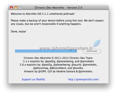 5 TUTO : Jailbreak untethered iOS 5.1.1 avec Absinthe 2.0.4