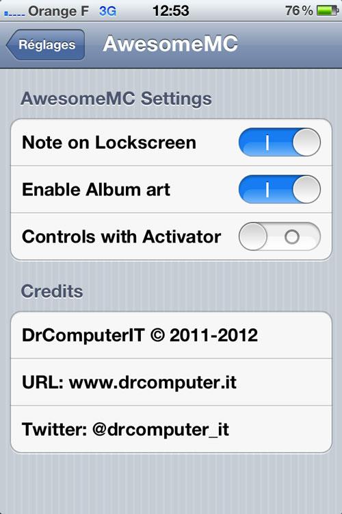 amc Cydia : Awesome Music Controller passe en version 1.2.0 1