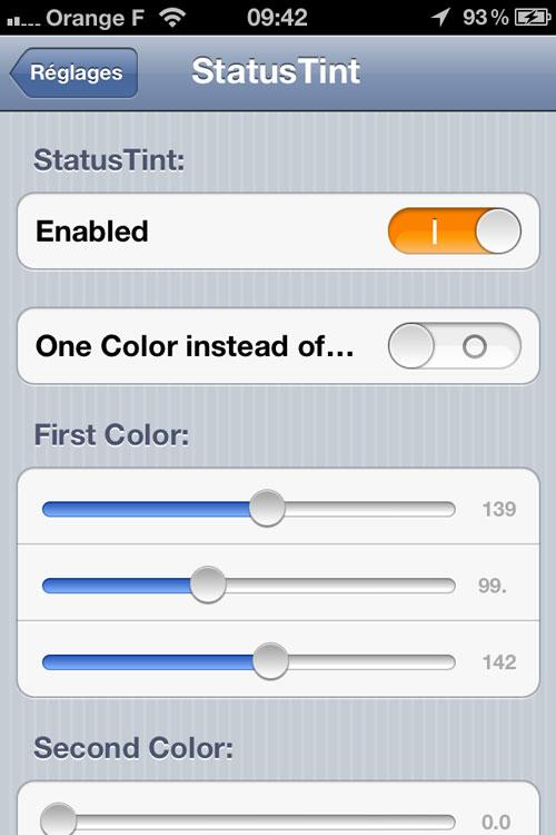 Status Cydia : StatusTint, ajoutez de la couleur dans la Status Bar