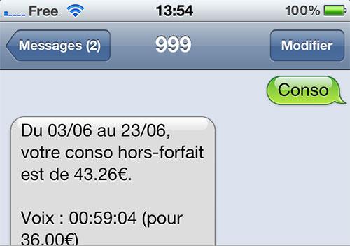 conso free mobile 999 Le suivi conso est disponible chez Free Mobile au 999