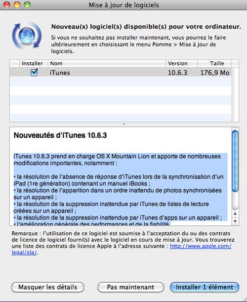 itunes iTunes se met à jour en version 10.6.3