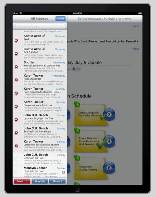 check Cydia : Check vous permet de sélectionner plusieurs emails en même temps