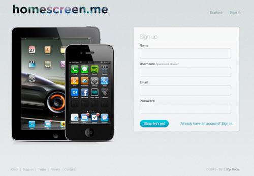 homescreen Homescreen.me pour partager votre écran daccueil