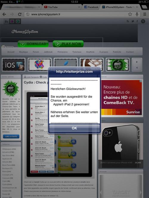 ipad Un malware sur iOS fait de la pub pour visitorprize.com [MAJ]