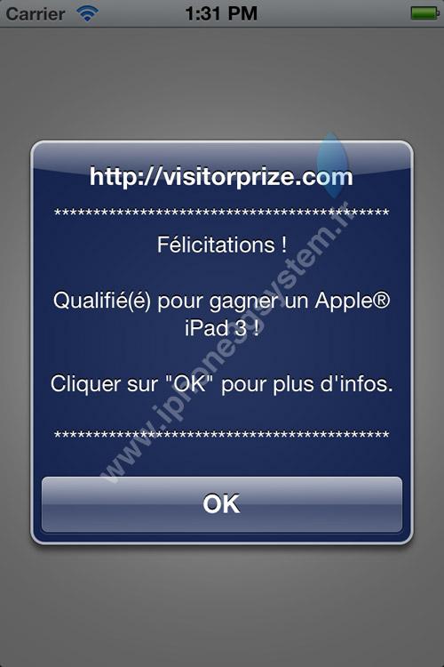 iphone Un malware sur iOS fait de la pub pour visitorprize.com [MAJ]