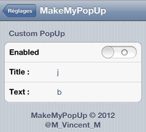 mmp Cydia : MakeMyPopUp créé des alertes personnalisées