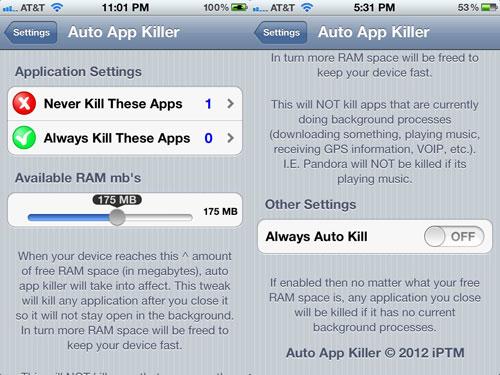 autoappkiller Cydia : Auto App Killer passe en version 2.1