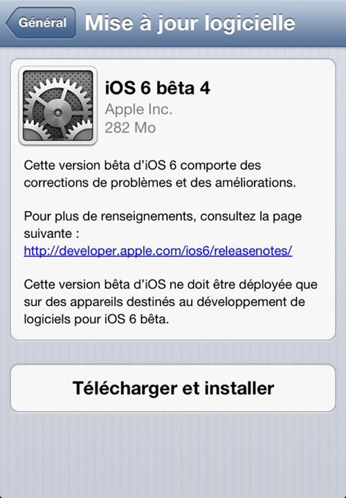 ios 6 beta 4 iOS 6 bêta 4 est disponible au téléchargement [MàJ]