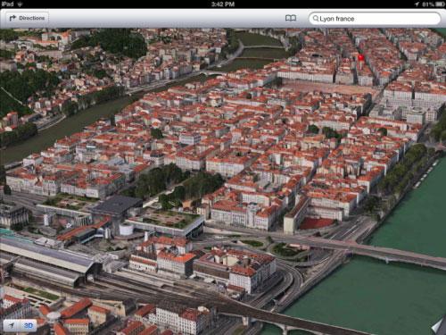 ios6yon iOS 6 : FlyOver nous offre Lyon en 3D