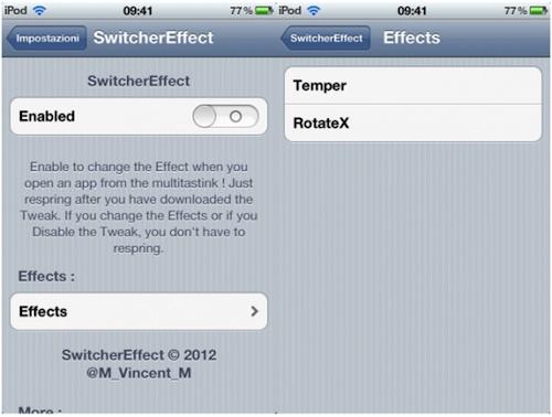 Switchereffect Cydia : SwitcherEffect modifie lanimation de transition entre apps