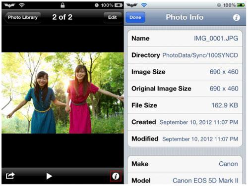 exif Cydia : Photo Info affiche les EXIF de vos photos