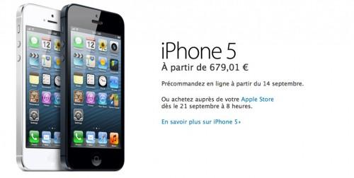 prixiphone 500x252 Le bilan du keynote : iPhone 5, iOS 6, iPod et iTunes 11 [MAJ]