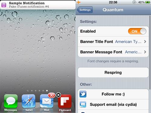 quantum Cydia : Quantum modifie la police des bannières de notification