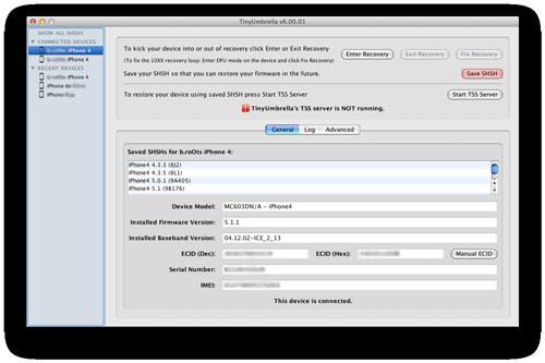 tinyumbrella save shsh ios 6 downgrade TinyUmbrella passe en version 6.12.00 et supporte iOS 6.1.2