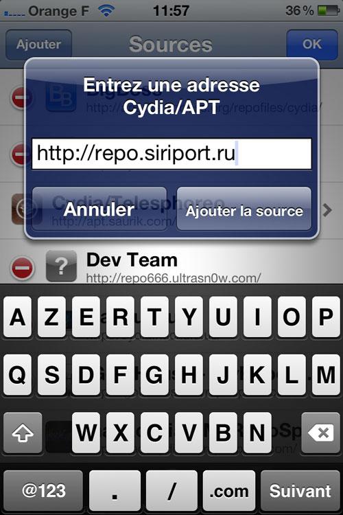 Etape2 Comment installer Siri sur des appareils sous iOS 6 ?