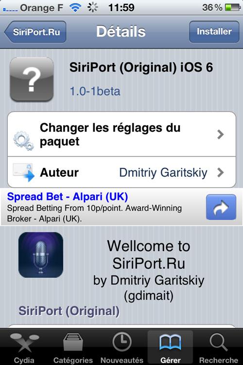 Etape3 Comment installer Siri sur des appareils sous iOS 6 ?