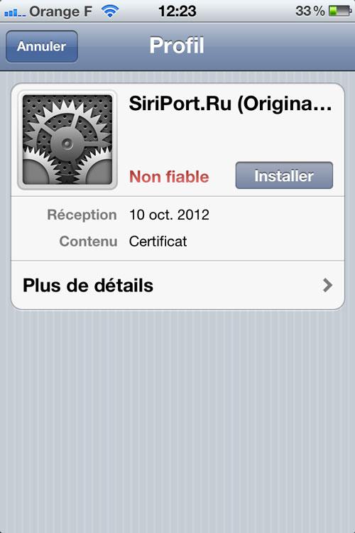 Etape5 Comment installer Siri sur des appareils sous iOS 6 ?