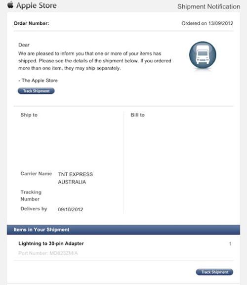 adaptateur Adaptateurs Lightning : Apple a commencé lenvoi