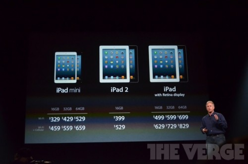 ipadmini 0639 500x330 Le bilan du keynote : iPad Mini, iPad 4ème génération et iMac
