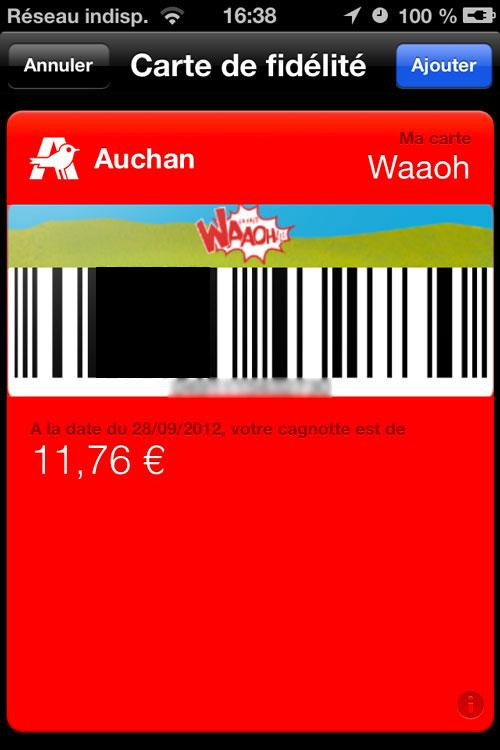 Passbook les cartes de fid lit compatibles en france - Carte de fidelite auchan fr ...