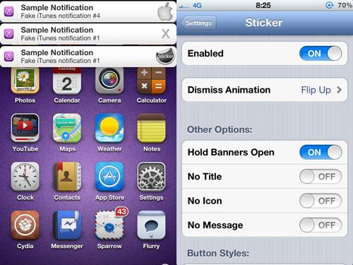 sticker Cydia : Sticker personnalise les bannières de notifications