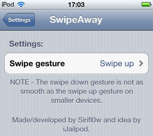 swipeaway Cydia : SwipeAway balaye les applications en fond de tâche