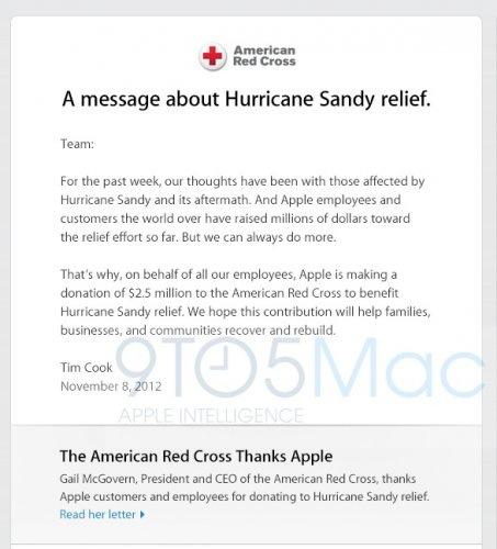 tim cook red cross 2 f4f21 Sandy : une donation dApple de 2,5 millions $