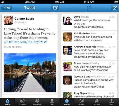 twitter iphone 5 Twitter en 5.1 affiche les tweets populaires avec leur photo