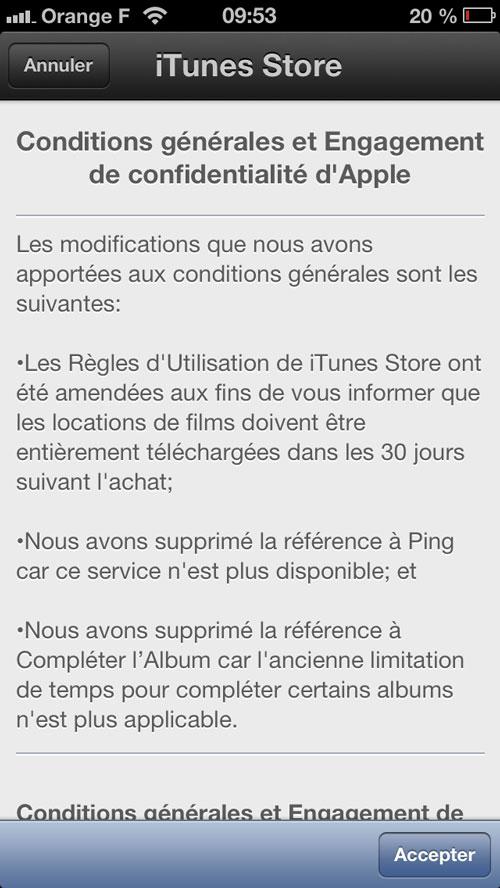 CGitunes LiTunes Store modifie ses conditions générales