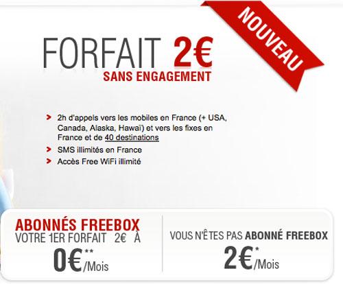 free Un nouveau forfait à deux euros chez Free Mobile