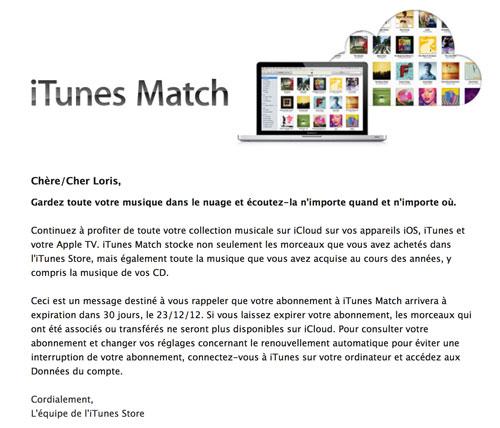 itunes Apple informe du renouvellement automatique diTunes Match