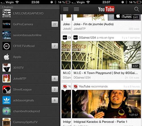 youtube iPhone 5 Youtube se met à jour pour iOS 7