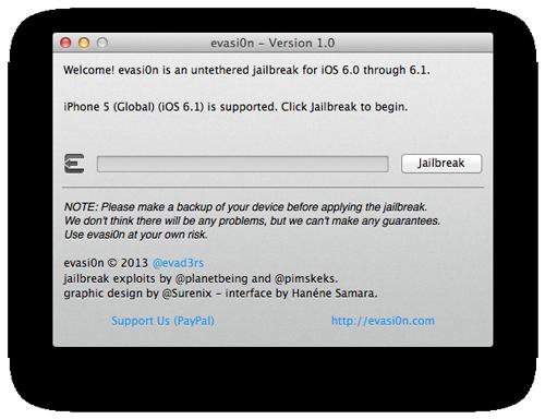 evasi0n jailbreak [TUTO] evasi0n : Jailbreak Untethered iOS 6.x pour iPhone 5 et plus