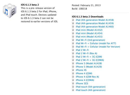 ios iOS 6.1.3 beta 2 est disponible [Maj]