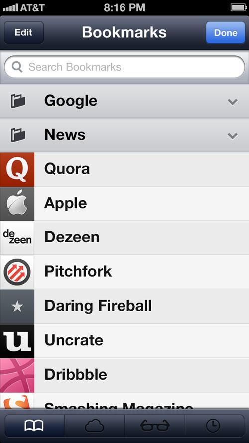 iOS 7 Safari Concept Folder Closed Concept : Safari Mobile pour iOS 7