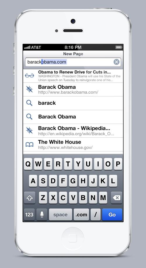 iOS 7 Safari Concept New Page Typing Device Concept : Safari Mobile pour iOS 7