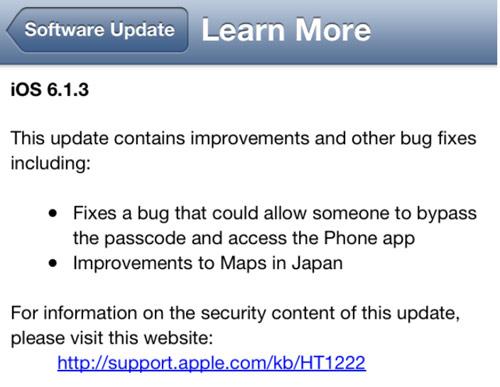 ios iOS 6.1.3 est disponible