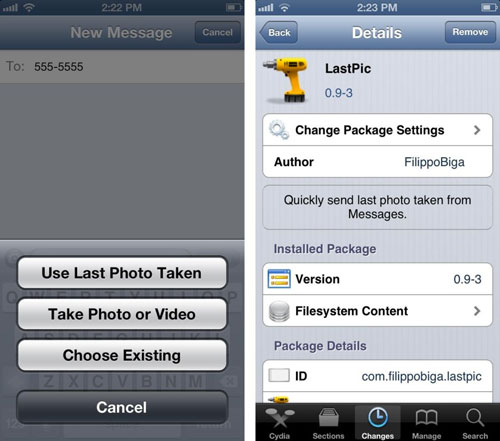 lastpic Cydia : LastPic envoie par message la dernière photo prise avec votre appareil