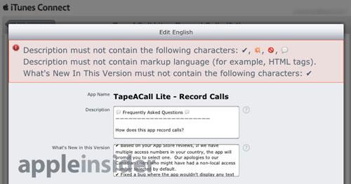 iTunes Connect emoji caracteres Fin des caractères spéciaux dans les descriptions App Store