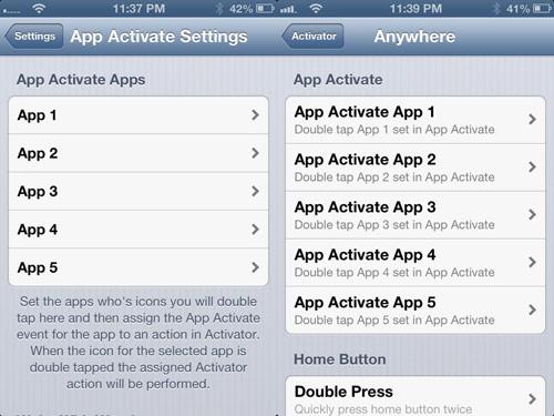 appactivate Cydia : App Activate assigne des actions Activator à vos icônes